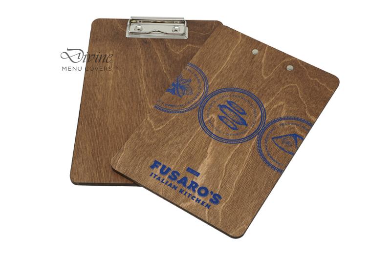 Blue Foil Stamp On Light Brown Genuine Wood Clipboard