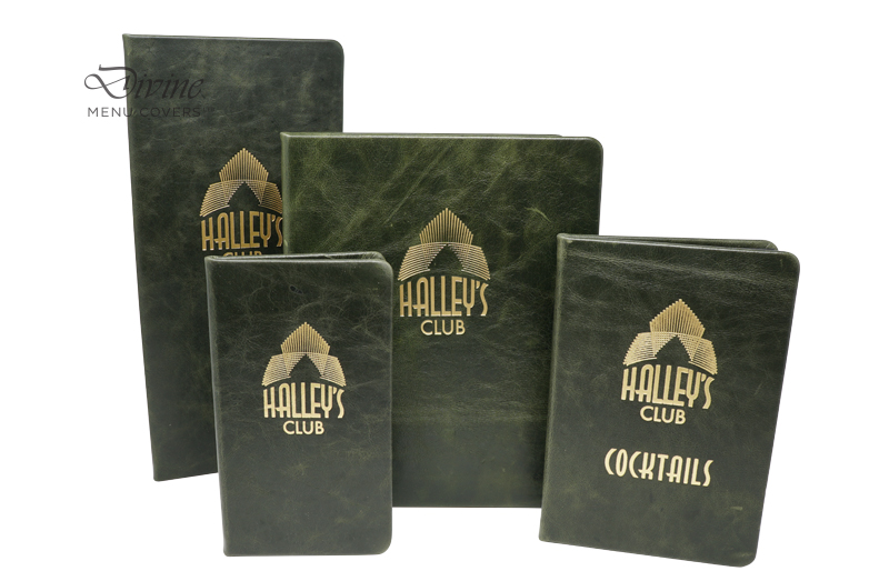 Green Genuine Leather Hard Cover With Gold Foil